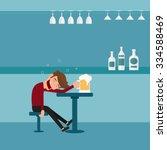 a drunk man asleep at the bar...   Shutterstock .eps vector #334588469