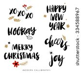 christmas calligraphy phrases.... | Shutterstock .eps vector #334588967