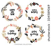 christmas greeting wreaths with ... | Shutterstock .eps vector #334589069