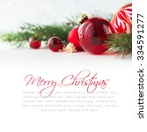 red xmas ornaments on white... | Shutterstock . vector #334591277