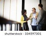 business team coffee break...   Shutterstock . vector #334597301