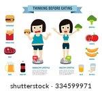 thinking before eating.... | Shutterstock .eps vector #334599971