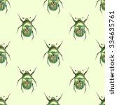 Beetle. Watercolor Seamless...