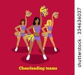 cheerleading team concept flat... | Shutterstock .eps vector #334636037