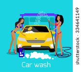 girl car wash flat concept icon.... | Shutterstock .eps vector #334641149