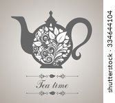 tea time. teapot with floral... | Shutterstock .eps vector #334644104