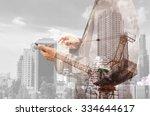 double exposure of business man ... | Shutterstock . vector #334644617