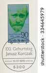 Small photo of GERMANY - CIRCA 1978: A post stamp printed in Germany shows portrait of Dr. Janusz Korczak (1878-1942), physician, educator, proponent of childrens rights, circa 1978