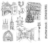 vector sketch old town. festive ... | Shutterstock .eps vector #334646981