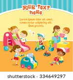children play with toys in the... | Shutterstock .eps vector #334649297