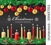 christmas seamless border with... | Shutterstock .eps vector #334657511