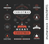 christmas labels and badges... | Shutterstock .eps vector #334658951