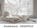 cozy winter still life  mug of... | Shutterstock . vector #334659314