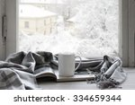 cozy winter still life  mug of... | Shutterstock . vector #334659344