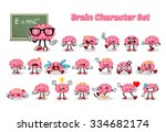 set of brain cartoon character... | Shutterstock .eps vector #334682174