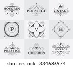 flourish calligraphic logo set...   Shutterstock .eps vector #334686974