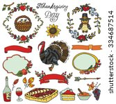 thanksgiving day icons doodle... | Shutterstock .eps vector #334687514