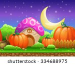 cartoon fairy tale landscape.... | Shutterstock .eps vector #334688975