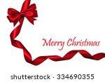shiny red satin ribbon on white ... | Shutterstock . vector #334690355