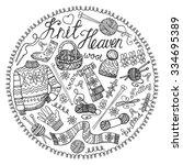 doodles.hand made needlework... | Shutterstock .eps vector #334695389