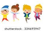 cute happy children jumping... | Shutterstock .eps vector #334695947