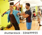 overweight woman doing... | Shutterstock . vector #334699955