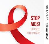 aids awareness red heart ribbon ... | Shutterstock .eps vector #334701401