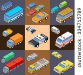 set of isometric transport.... | Shutterstock .eps vector #334715789