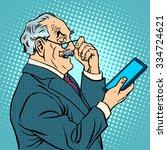 old man gadgets elderly... | Shutterstock .eps vector #334724621