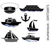 vector sea ships silhouettes... | Shutterstock .eps vector #334726871