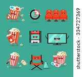 funny movie icons set.  | Shutterstock .eps vector #334727369