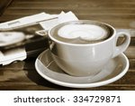 retro photo of cappuccino and a ... | Shutterstock . vector #334729871