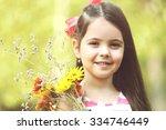 portrait of happy little girl... | Shutterstock . vector #334746449