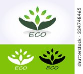 eco vector logo with green... | Shutterstock .eps vector #334748465