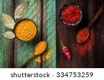 chili  paprika  turmeric and... | Shutterstock . vector #334753259