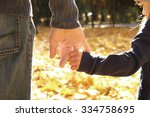 a the parent holds the hand of... | Shutterstock . vector #334758695