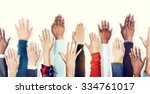 group of hands arms raised... | Shutterstock . vector #334761017