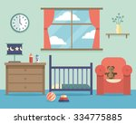 nursery baby room interior with ... | Shutterstock .eps vector #334775885