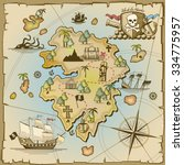 pirate treasure island vector... | Shutterstock .eps vector #334775957