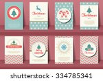 set of  christmas brochures in... | Shutterstock .eps vector #334785341