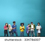 students learning education... | Shutterstock . vector #334786007