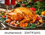 roasted turkey on holiday table ... | Shutterstock . vector #334791641