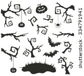 halloween objects set isolated... | Shutterstock . vector #334791941