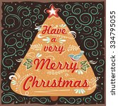 vintage christmas greeting card ... | Shutterstock .eps vector #334795055