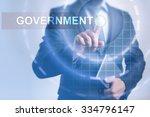 businessman pressing button on... | Shutterstock . vector #334796147