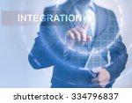 businessman pressing button on... | Shutterstock . vector #334796837