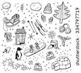 Hand Drawn Winter Doodles.