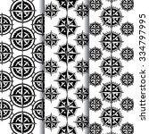 pattern with compass roses and... | Shutterstock .eps vector #334797995