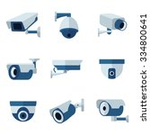 Security camera, CCTV  flat icons set.  Surveillance private protection, safety and watching, vector illustration - stock vector