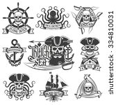 unique pirate tattoo  logo set. ... | Shutterstock .eps vector #334810031
